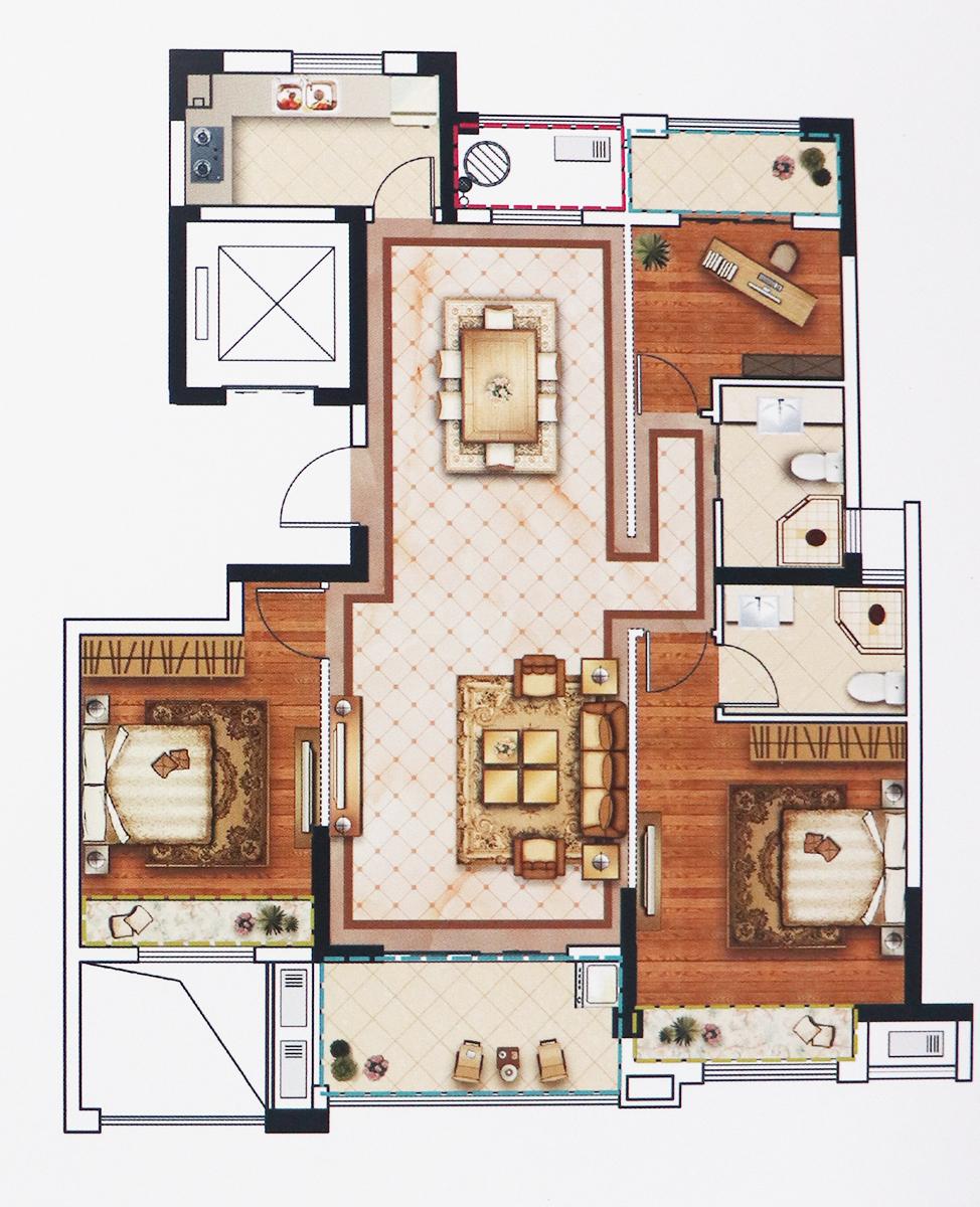 约124方3室2厅2卫F户型