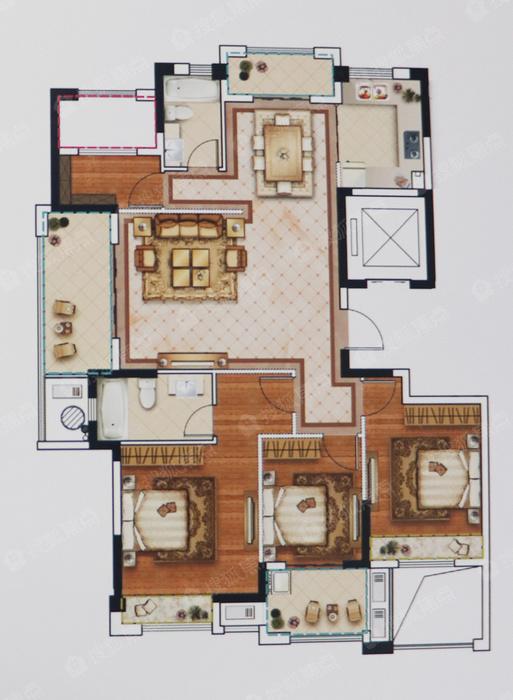 约138方4室2厅2卫E户型