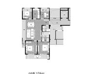 C户型 4室2厅2卫 126㎡